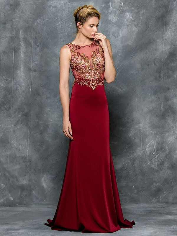 Open back burgundy Prom dress