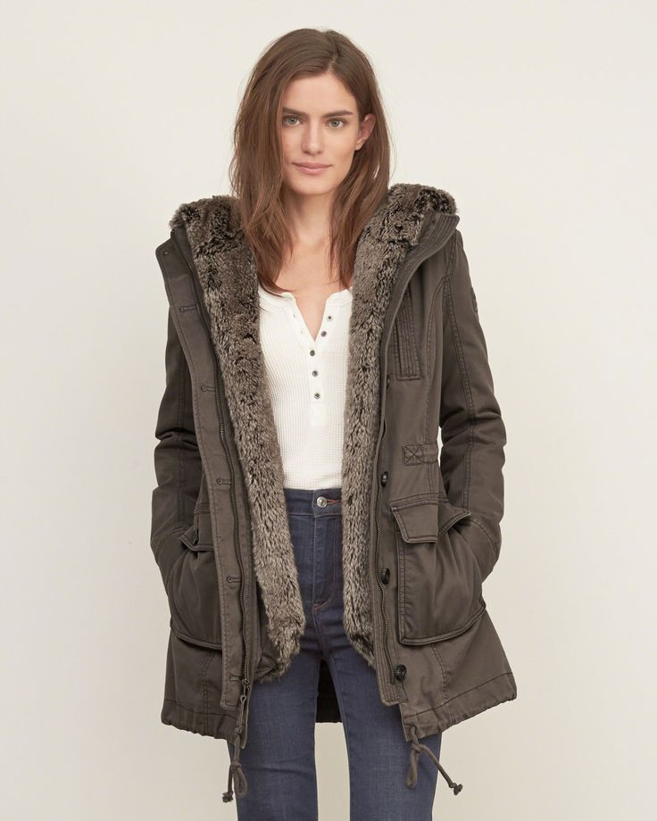 Abercrombie and fitch andrea fur lined parka