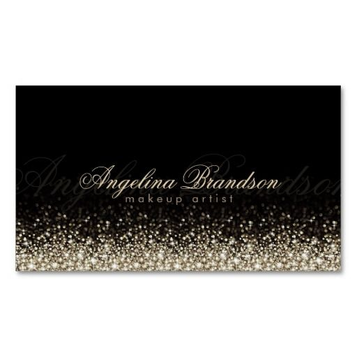 Shimmering Silver Makeup Artist Damask Black Card Double-Sided Standard Business Cards (Pack Of 100)