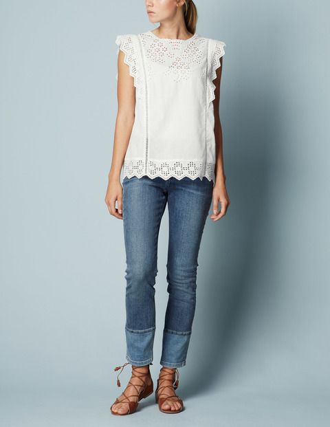 Broderie Top from Boden. Can't get enough of white tops.
