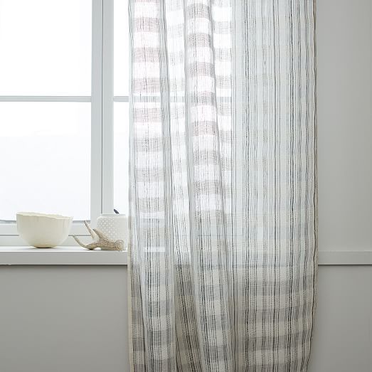 Mid-Century Sheer Plaid Curtain | west elm