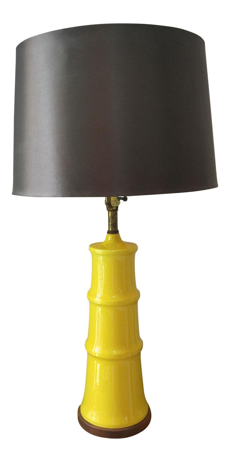 Yellow Bamboo Form Lamp on Chairish.com