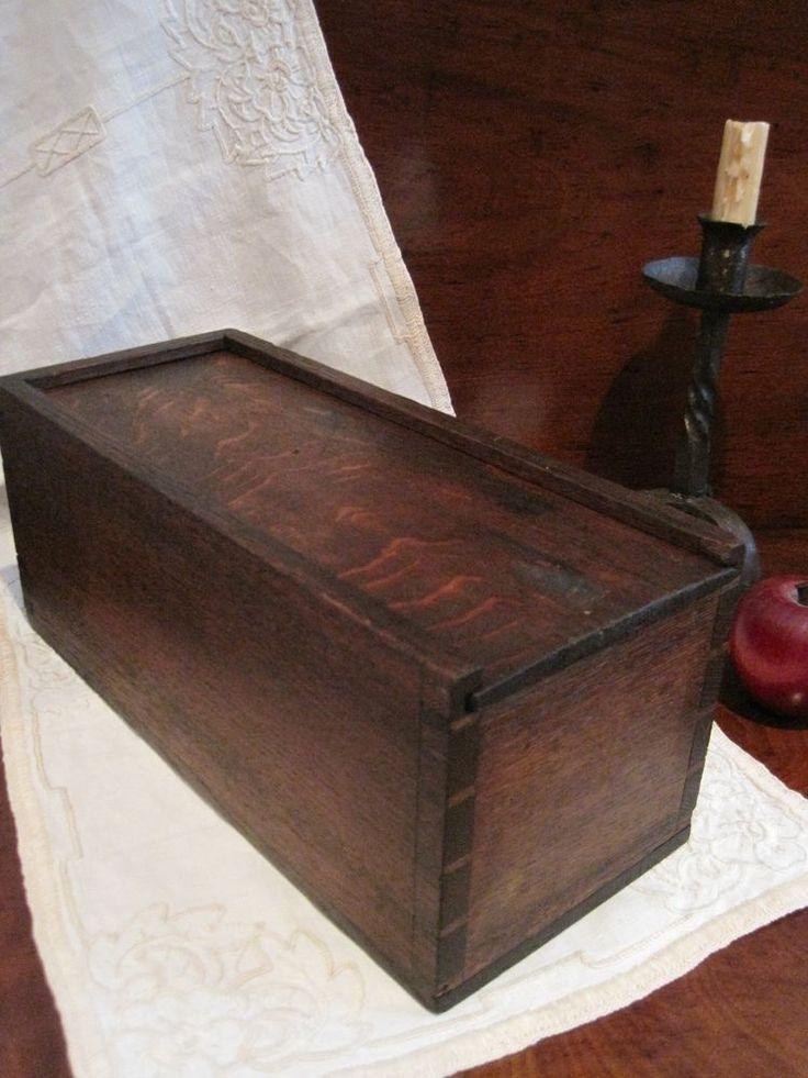Antique 1700s Colonial Folk Art Oak Sliding Lid Dovetailed