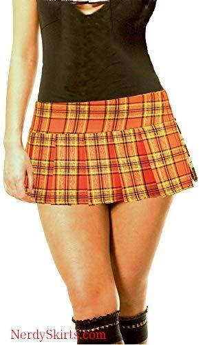 5d314f4ea Orange Schoolgirl Tartan Plaid Pleated Micro Mini Skirt Orange in ...