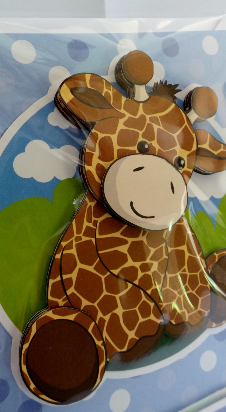 A5 3D giraffe with glossy eye's and hand made envelope