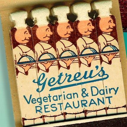 1930's Getreu's Vegetarian and Dairy Restaurant Matchbook — Brooklyn, New York