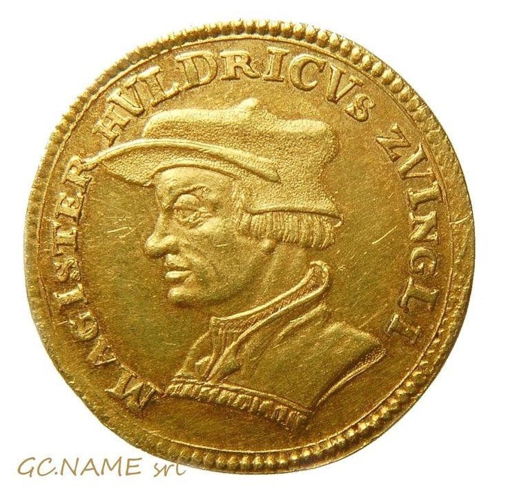 Switzerland: Zurich. Magister Zwingli Gold Ducat 1719. Oro Or #460
