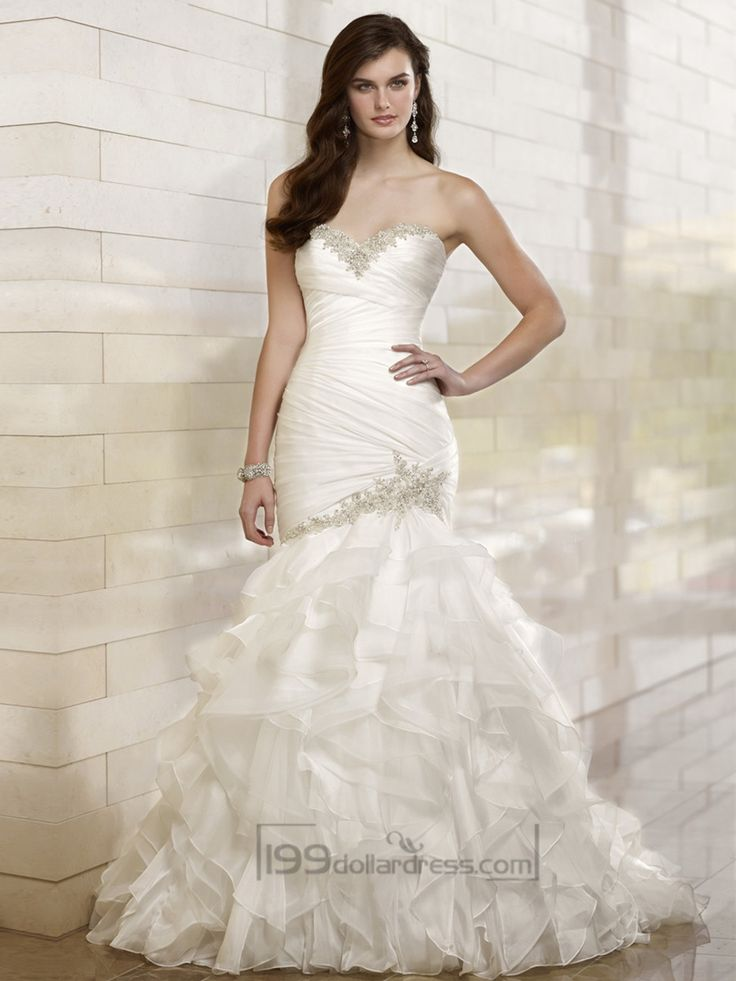 Trumpet Mermaid Beaded Sweetheart Dreaped Bodice Wedding Dresses with Layered Skirt