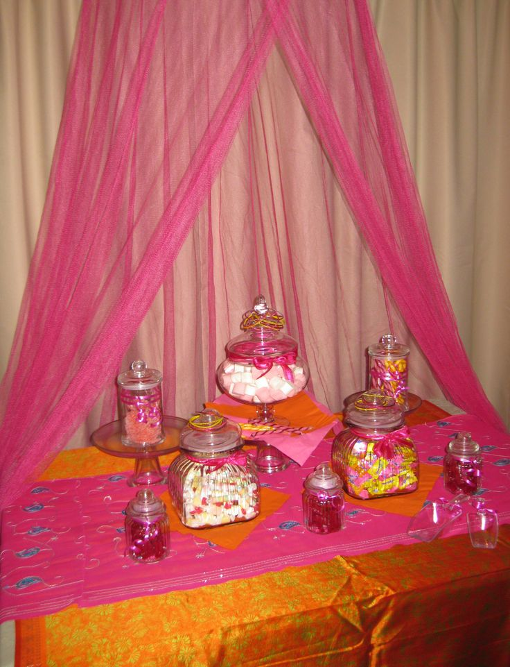 Candy buffet for a Bollywood kids party! www.facebook.com/easybreezyparties #bollywoodparty #kidsparty #candybuffet #easybreezyparties