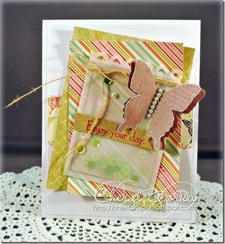 Green Sequin card by Cheryl Gorka