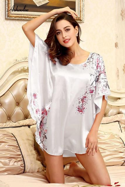 Plus size white sexy silk long nightgowns