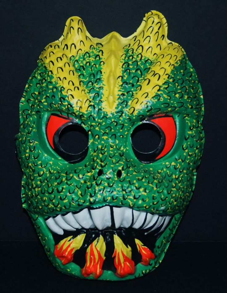 Godzilla - retro vintage plastic Halloween mask made by the Ben Cooper company