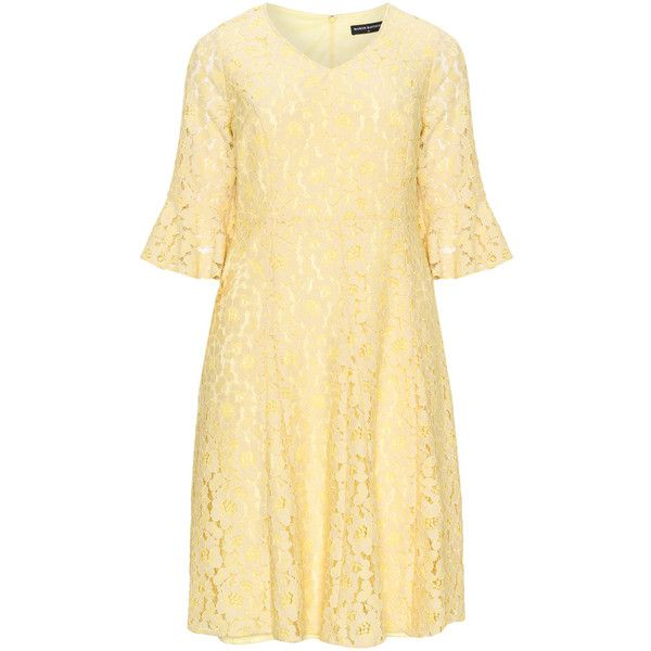 Manon Baptiste Yellow Plus Size Floral lace dress ($210) ❤ liked on Polyvore featuring dresses, plus size, yellow, floral summer dresses, women plus size dresses, summer dresses, plus size floral dresses and beige lace dress