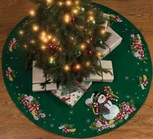 bucilla caramelo del muñeco de nieve del árbol de la falda