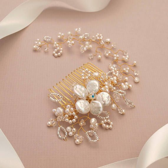 Lace Bridal Hair Comb with Vine
