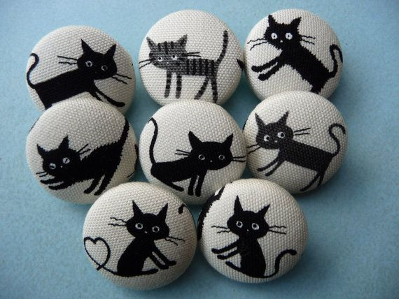 U pick 4  kawaii Japanese cats kittens handmade fabric covered buttons 1 1/8 inches gift under 10 dollars