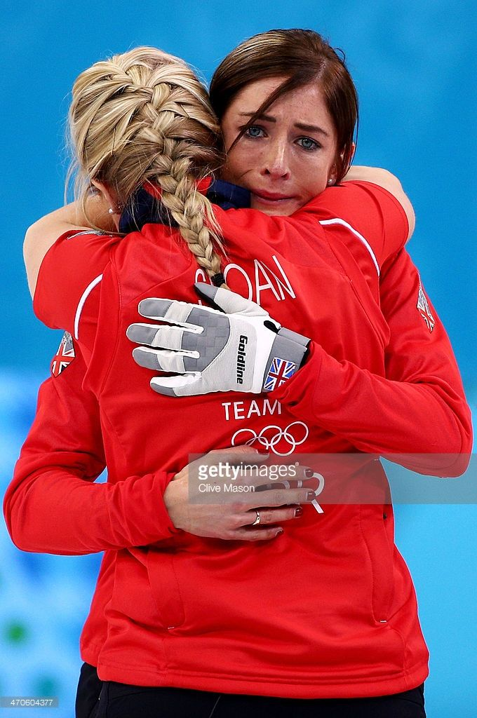 Eve Muirhead of Great Britain (R) shows her emotions as she celebrates with Anna Sloan as Team GB win the bronze medal during the Bronze medal match between Switzerland and Great Britain on day 13 of the Sochi 2014 Winter Olympics at Ice Cube Curling Center on February 20, 2014 in Sochi, Russia.