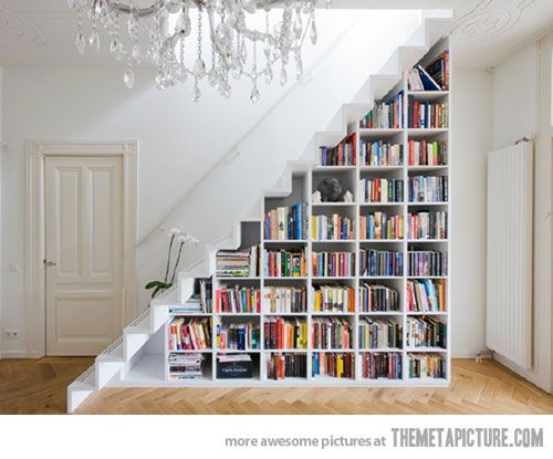 Home library. Under stairs book shelves, put in a couch and coffee table or ottoman.