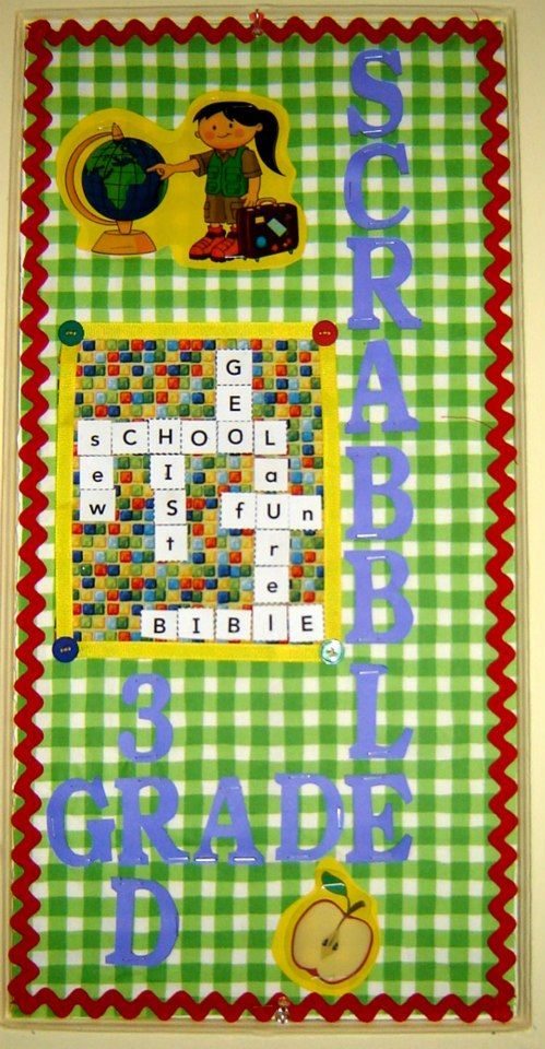 3rd Grade Scrabble Bulletin Board Idea with the kid's names on the board