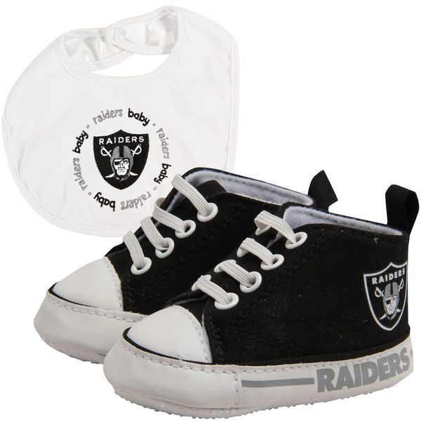 Oakland Raiders Infant Bib and Shoe Gift Set - Black/White - $25.99