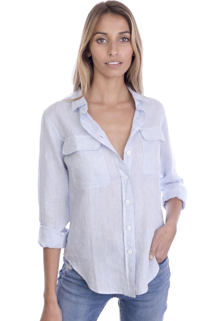 Lete Sky Blue, Relaxed Linen Shirt with Pockets – CAMIXA Shirts