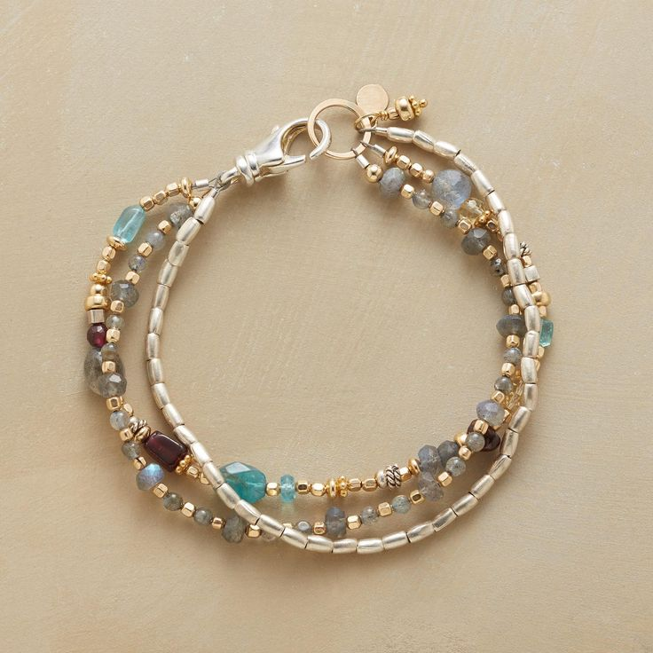 EASY AS 1-2-3 BRACELET -- Three wear-with-anything strands: sterling silver barrel beads