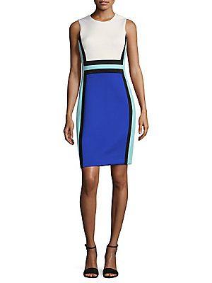 CALVIN KLEIN COLORBLOCK ROUNDNECK SHIFT DRESS. #calvinklein #cloth #