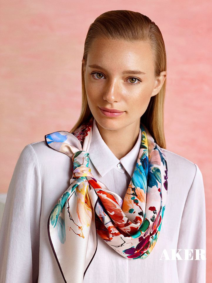906545b18 AKER SCARF Collection 2017 | Scarf in 2019 | Silk scarves, Scarf styles,  Silk