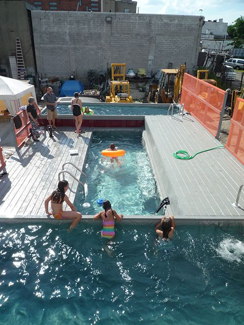 Above-ground pools made from old dumpsters.
