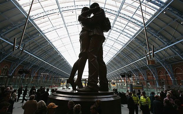 St Pancras train station has been named as one of the most romantic spots in   the world.