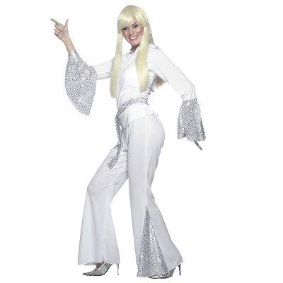 Super stoere 70\'s Disco kostuum voor dames. Dit disco kostuum bestaat uit een shirt en broek. Dit carnavals disco kostuum is gemaakt van 100% polyester. Met dit zilver/witte disco kostuum voor dames staat u te schitteren op de dansvloer. Carnavalskleding 2015 #carnaval