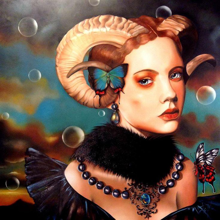 Isabelle Sauvineau - Tableau à l'huile - La femme Bélier. Découvrez les tableaux d'Isabelle Sauvineau, une artiste et peintre québécoise.