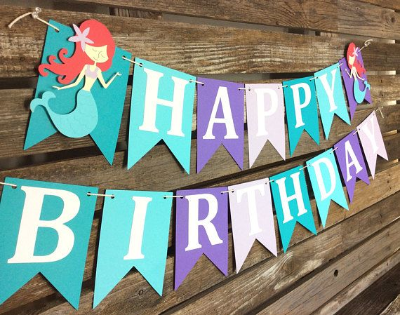 Decorate with this cute Mermaid Happy Birthday Banner. Use it as a backdrop at your sweets table or simply hang it on a wall for your guests to admire! Great for a Mermaid or Under The Sea Party! QUANTITY:  2 - Piece Mermaid Party Happy Birthday Banner COLORS:  Aqua, Teal, Purple,