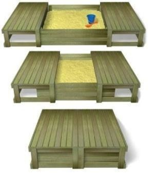 DIY try making this out of pallets... Perfect sand box for kids by CrashFistFight