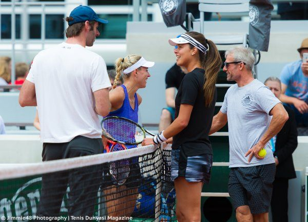 From Jimmie48 Photography: That moment when you trade coaches: Kerber talks to Nigel Sears while Ivanovic chats with Torben Beltz - Paris 2016 Roland Garros