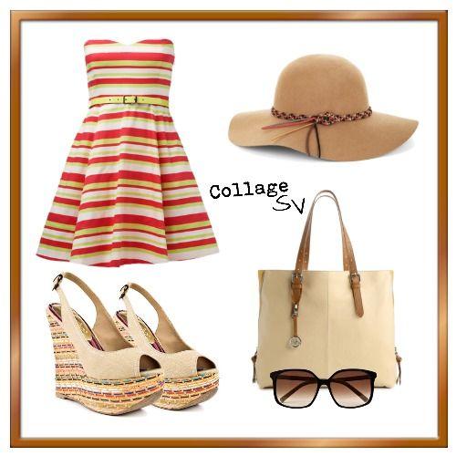 Que ropa usar para ir a la playa, vestido de rayas, sandalias de cuña, carteta Tote, lentes de sol, sombrero