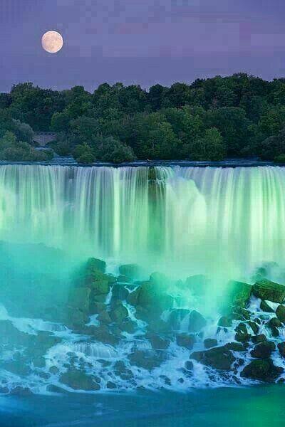 Beautiful Moon view on  Niagara Falls.