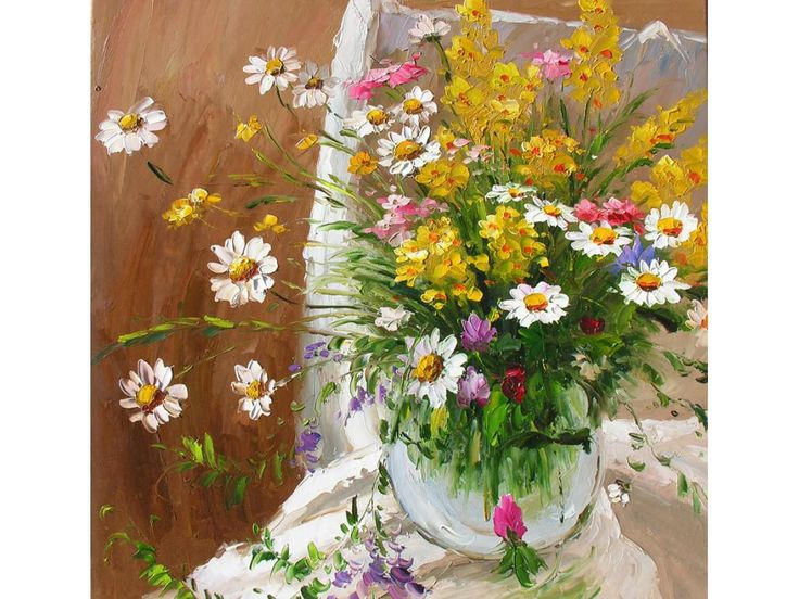 MADE2ORDER ORIGINAL Oil Painting Flowers vase wild flowers white daisy yellow happy Home decor Impressionism Palette Knife colorful bright summer Handmade ART by Marchella Piery