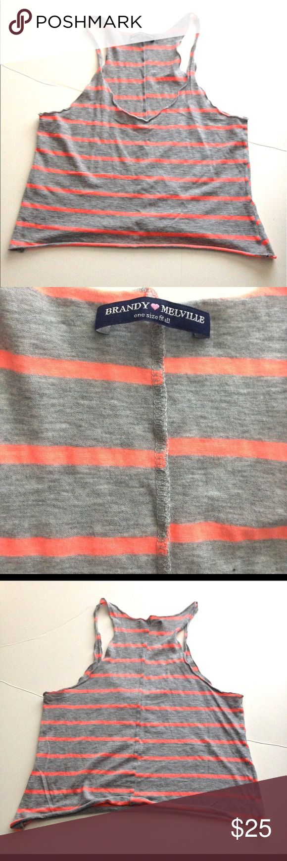 Brandy Melville casual pink striped tank top Brandy Melville casual pink striped tank top Brandy Melville Tops Tank Tops