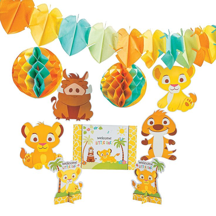 again...cheaper :)  Lion King Baby Decorating Kit - OrientalTrading.com