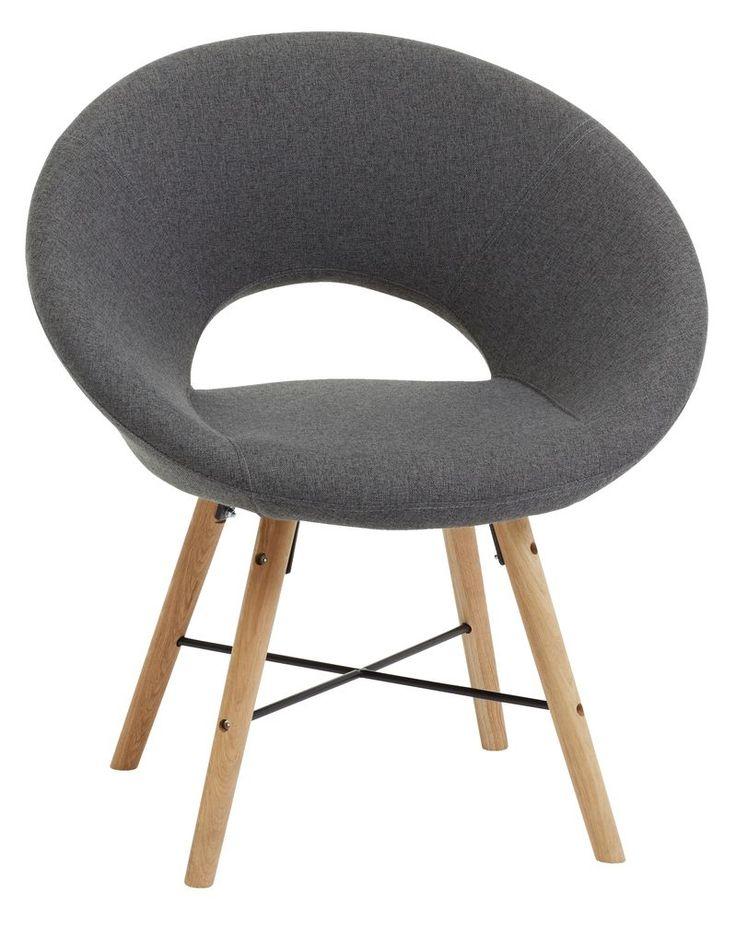 Fotel KAPPEL sötétszürke szövet/tölgy | JYSK