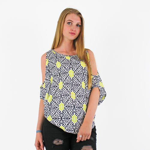 PinkCad Yellow Black & White Patterned Cold Shoulder Batwing Top Instore And Online www.pinkcadillac.co.uk