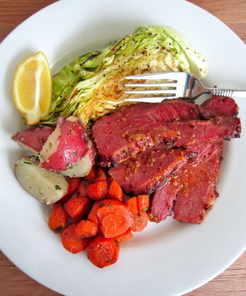 Baked Honey-Mustard Corned Beef with Roasted Cabbage, Roasted Carrots, and Buttered Red Potatoes