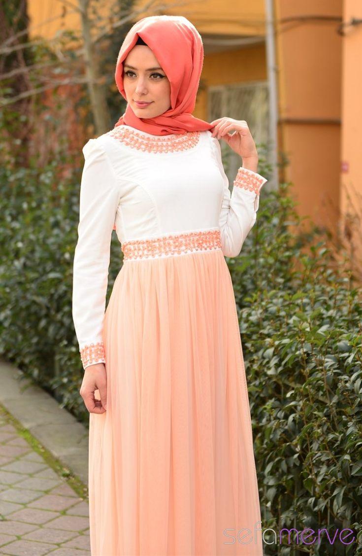 Sefamerve Kombin Elbise GLY 0301-11 Somon