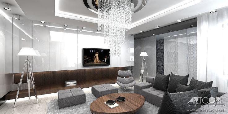 Projekt wnętrza nowoczesnego domu.  Więcej na www.artcoredesign.pl .