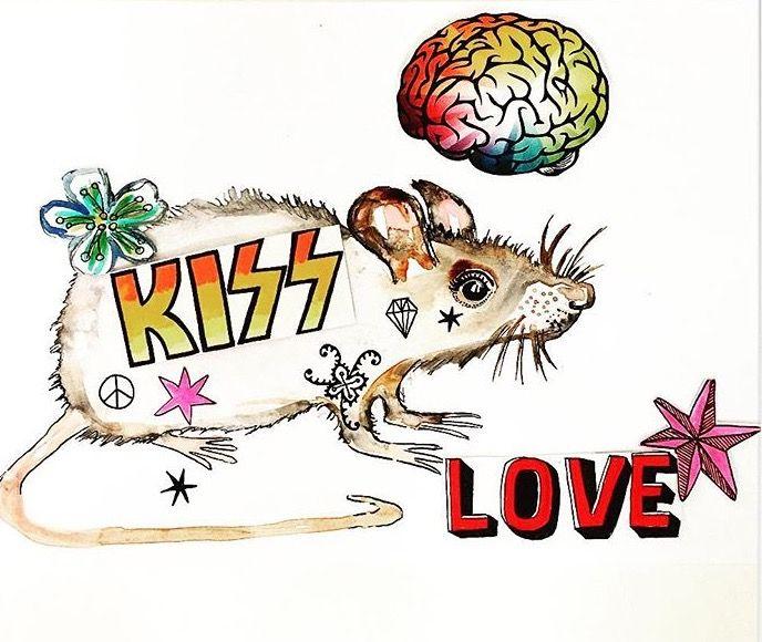 Stickerbombed Rat by Lizzie Reakes