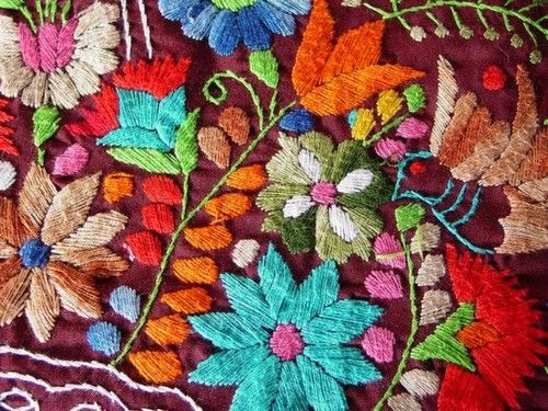 flower embroidery  Wonderful...Is it satin stitch, or perhaps crewelwork?  Either way, so pretty.