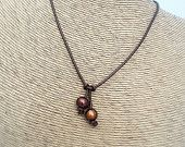 Leather and pearl necklace - Bronze Pearl and leather necklace -  pearl and leather necklace - pearl drops necklace  - Bohemian necklace