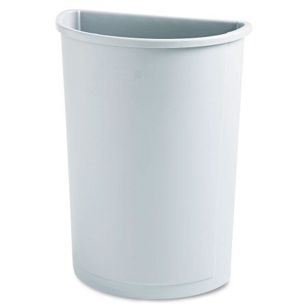 Rubbermaid Commercial Untouchable Waste Container, Half-Round, Plastic, 21gal, Gray