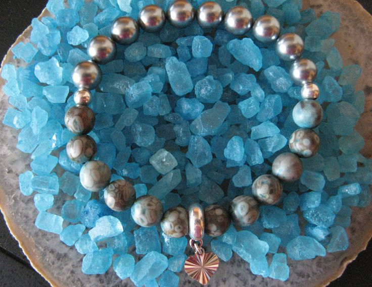 OCEAN - 35$ Jasper, pearls seashell, silver 925